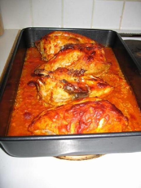 Kana+riisi uunissa