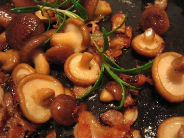 Pasta carbonara sienillä