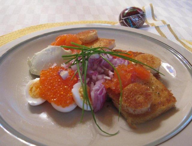 Viiriäisen munia ja kalaa
