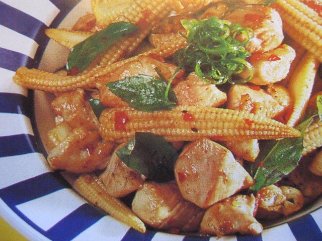 Reseptikuva: Thai kana, basilika ja minimaissi stir-fry 1