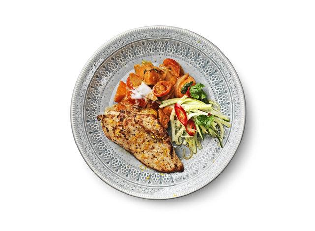 Kanaa ja currybataatteja