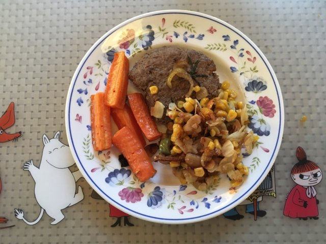 Reseptikuva: Naudan pihvi + porkkana + maissi 1