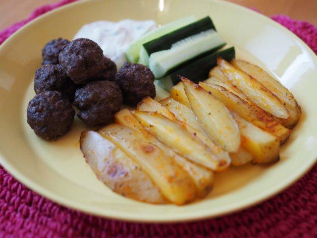 Reseptikuva: Lempeät lihapullat ja Ranch-ranskikset (gluteeniton) 2