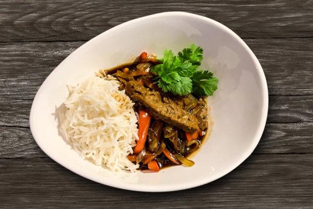 Reseptikuva: Japanilainen teriyaki-seitankastike, riisiä ja ituja 1