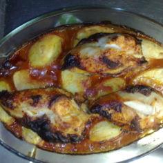 kananpojan rintapaloja ja perunaa