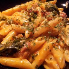 Penne-pastaa chorizolla ja sitruunakermakastikkeella